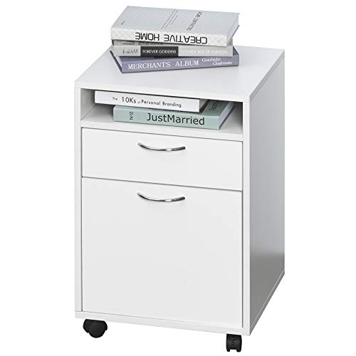 HOMCOM Rollcontainer, Aktenschrank, Bürocontainer mit Schublade, Büroschrank, Aufbewahrung Container, Spanplatte, Weiß, 40 x 35 x 60 cm