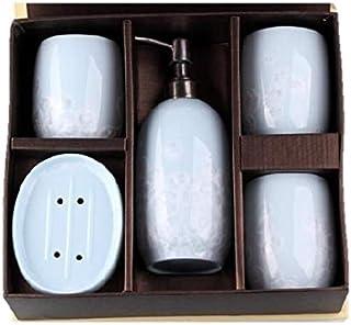 バス用品5点セット(歯ブラシ入れ、石鹸入れ、ポット)(水色浮き絵)