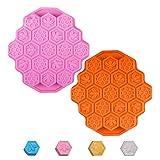 INTVN Kuchen Schimmel Silikon Backform Kuchen, mit Wabenmuster,Form Honig Kamm Bienen Form Kuchen Cookies Muffins,Pink/Orange