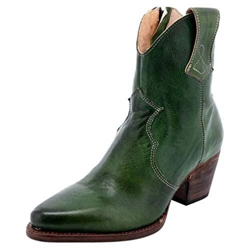 Lenfesh Modische Stiefeletten Damen Winterstiefel Stiefel Chelsea Boots Ankle Leder Blockabsatz Kurzschaft Stiefel Absatz Schuhe Winter Elegant Short Booties