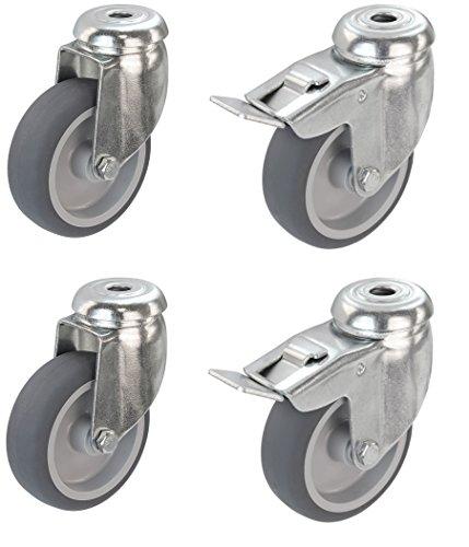 Satz Apparaterolle Lenkrolle 75 mm mit ohne Bremse Feststeller Gummi grau-spurlos Rückenloch Möbelrolle Transportrolle