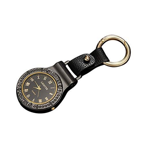 MuSheng Taschenlampe Feuerzeug Uhren Schlüsselbund Männer Armbanduhren mit Lederarmband Watch Cigarettes Lighter mit Light Herrenuhr Multifunktionales Uhrengeschenk (Schwarz)