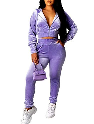 UUGYE Womens Hooded Tracksuit Zip Up Velvet 2 Piece Outfits Jogging Suit Set Purple US XS