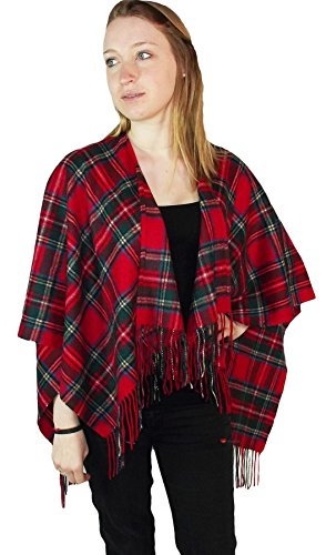 I Luv Ltd Ladies Cashmere Cape in Royal Stewart Tartan