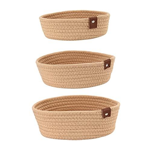 ANDEZX 3 cestas de almacenamiento multiusos para juguetes, ropa, revistas, frutas y verduras (kaki)