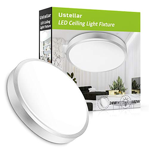 Ustellar 24W LED Ceiling Lights Fixture Flush Mount 180W Incandescent Bulbs Equivalent 2000lm 14in LED Ceiling Lamp 5000K Daylight White Indoor Outdoor Lighting for Bathroom Hallway Office Kitchen