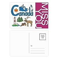 カナダの国家の象徴のランドマークのパターン ポストカードセットサンクスカード郵送側20個ミス