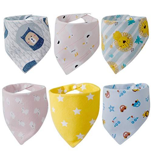 KESYOO 6St Baby Slab Driehoek Katoenen Slabbetje Comfortabele Zachte Slab Speeksel Handdoek Voor Baby (Gele Leeuw Blauwe Beer Blauwe Auto Roze Wit Konijn Gele Ster Roze Kat)