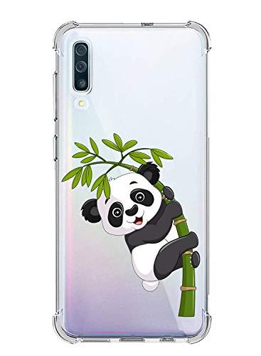 Suhctup Compatible con Samsung Galaxy A8 Plus 2018 Funda para Silicona Transparente con Dibujos Panda Diseño Patrón Cárcasa Ultra-Fina Suave TPU Choque Cojín de Esquina Parachoque Caso-Panda 9