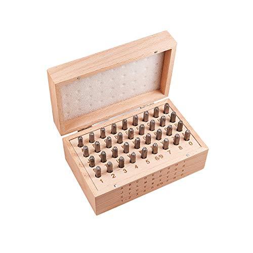 PandaHall Elite 36pcs / Set 6mm Eisensiegelmarken, einschließlich Buchstaben A ~ Z, Nummer 0~8 und Ampersand, Siegelstanzwerkzeuge zum Stanzen von Metall/Schmuck/Leder/Holz