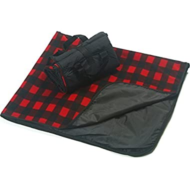 CozyCoverz Outdoor Rainproof & Windproof Stadium Blanket/Picnic Blanket 50  x 60  (Black/Buffalo Check)