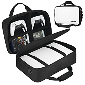 Partage PS5 Case, Console Case Compatible with Playstation 5 and PS5 Digital Edition with Customizable Interior for Playstation Controller - Black/White