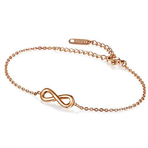 Flongo Edelstahl Fußkette Fußkettchen Armband Armreif Armkette Kette Rose Gold Infinity Unendlichkeit Zeichen Symbol Lieben Charm Elegant Damen