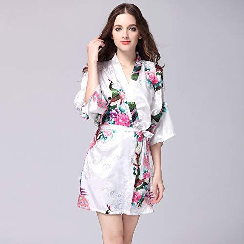 Albornoces de Seda de imitación de Mujer Vestido de Novia de satén Bata de Novia Albornoz Floral de Gran tamaño Pijama Corto 2 L