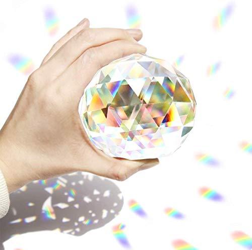 Hey_you Klarglas Kristallkugel Prisma Kristall Suncatcher Kugel Facettierte Blickkugel Ornament Prismen für Fenster, Sonnenfänger (80mm)