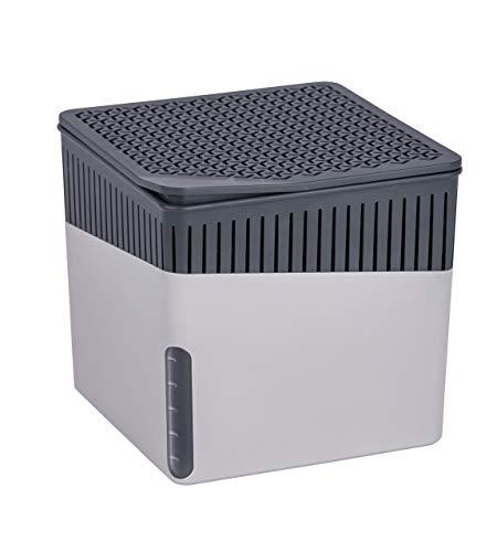 WENKO Raumentfeuchter Cube, Luftentfeuchter reduziert Schimmel und Gerüche, Auffangschale mit 1 kg Granulatblock nachfüllbar, fasst bis zu 1,6 l Feuchtigkeit, Maße (BHT): 16,5x15,7x16,5 cm, grau