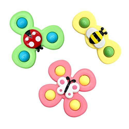 Ardorman 3pcs Suction Cup Spinning Top Juguete | Juguete de Butterfly/Ladybug/Bee Bath | Juguete de Alivio del estrés de los niños | Fijar en una Pared Lisa, bañera, Mesa