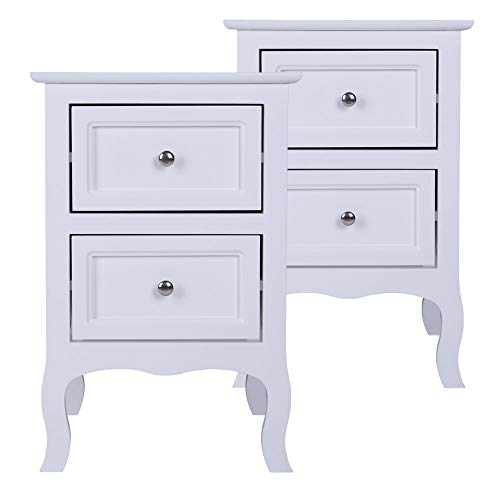 2 Pcs Wood Nightstands, Modern Two-Tier White Night Tables, Country Style Bent Legs End Table Sofa Side Table Bedside Cabinet with 2 Drawers for Bedroom Living Room