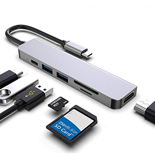 USB C Hub Multiport Adapter - 7 in 1 Portable Space Aluminum Dongle with 2 USB 3.0 Ports,4K HDMI Output,100W PD,SD/Micro SD Card Reader Compatible for MacBook Pro, XPS More Type C Devices