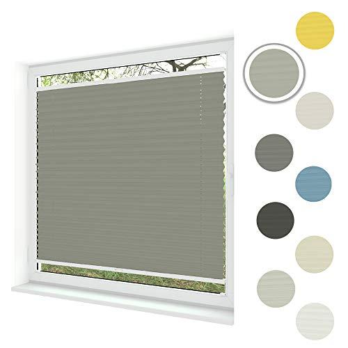 Sunlux24 Plissee Basic   Einfache Montage im Glasfalz mit Bohren   In Maßanfertigung & vielen Lichtdurchlässig & 100% Blickdicht! (Grau 2, B: 81-90cm   H: 51-100cm)