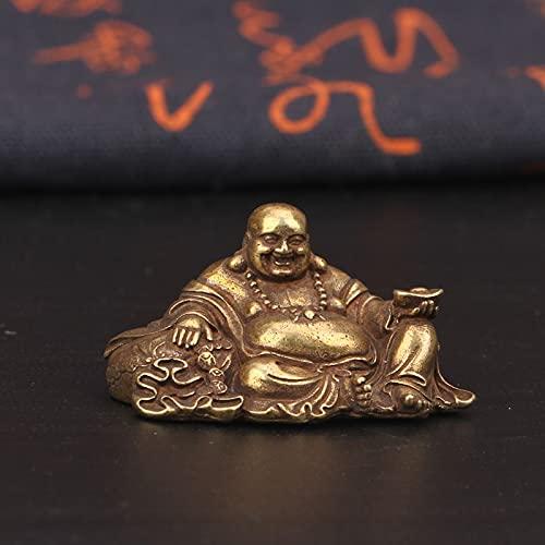 Antike Kupfer Big Bauch lachend Maitreya Buddha Figur Schreibtisch Kupfer Ornament Mini Messing Figur Handwerk Messing Miniaturfiguren Home Decorations Überraschungsgeschenk