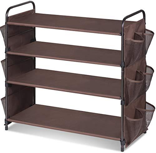 MISSLO Estante de almacenamiento de zapatos de armario ancho de 4 niveles, organizador de entrada con 12 bolsillos laterales de malla, bronce