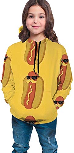 dgfgad Sudadera con Capucha Hooded Youth Sweatshirt Girls' Youth Teen 3D Hot Dog with Moustache Sunglasses Pullover Hoodies Hooded Sweatshirts Tops Blouse with Pocket