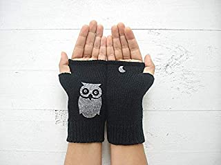 Black Hand Warmers with Owl, Valentine Gift, Express Delivery, Fingerless Gloves, Rock Gloves
