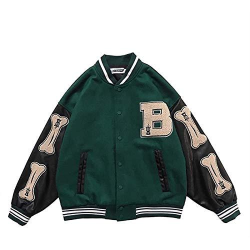 N\C Sr. Béisbol Chaqueta Unisex College Chaqueta Viviente JUJA DE STORTE STREDYWAY VINTAY STREEWWET Oversized Patchwork Sports Chaqueta, Adecuado para Hombres y Mujeres (Color : Green, Size : S)