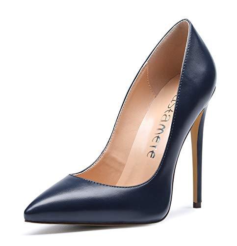 CASTAMERE Scarpe col Tacco Donna Stiletto Tacco Alto Nozze Festa High Heels Sexy Eleganti Scarpe 12CM Tacco PU Blu Scuro Scarpe EU 38
