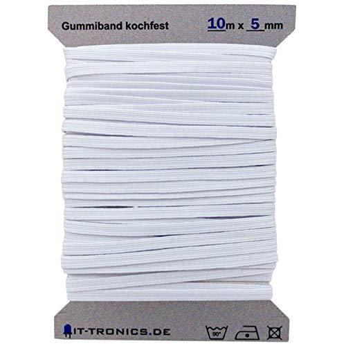 10m x 5mm Gummiband Weiss Gummilitze Kochfest z.B. für Masken Mundschutz