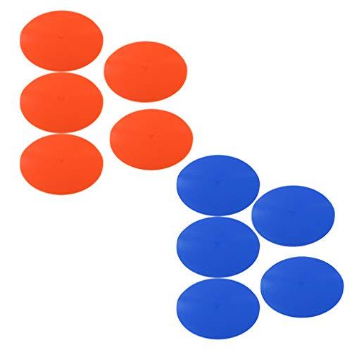 IPOTCH 10Pcs Cono Plano para Campo de Fútbol Baloncesto Rubgy Hockey, Color Brillante - Azul + Naranja