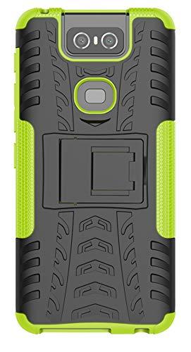 Funda Asus Zenfone 6/zs630kl,Tianqin Heavy Duty Híbrida Rugged Armor Case Choque Absorción Protección Dual Layer Bumper 2 in1 Armadura Combinación Cover con Soporte para Asus Zenfone 6/zs630kl - Verde