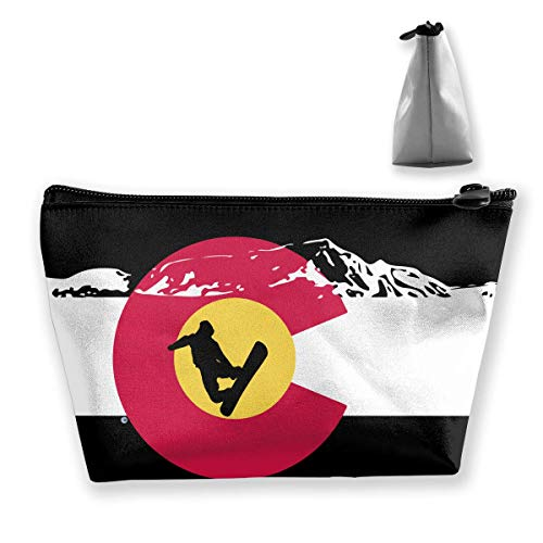 Colorado Flag Mountain Snowboard Multifunction Travel Makeup Bags Storage Bag Organizers with Zipper