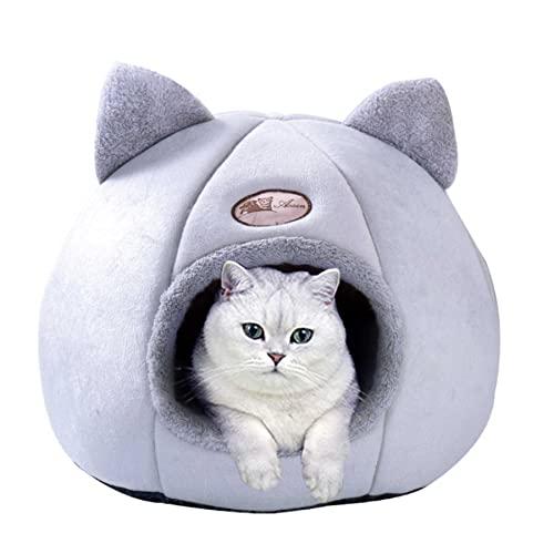 Katzenhöhle,Kuschelbett Hundehöhle waschbar katzenkissen katzenkörbchen haustierbett Hund Katze schlafhöhle,Plüsch Kennel warmnest komfortable kuschelhöhle für Katzen Hund, Katzenbett (36*36*36CM)
