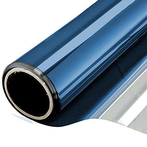 NewStar Sonnenschutzfolie | selbsthaftende Fensterfolie | UV-Schutz & Sichtschutzfolie, Kratzfest,Verdicken Materialstärke 0.1 mm (Blaues Silber, 90 x 400 cm)