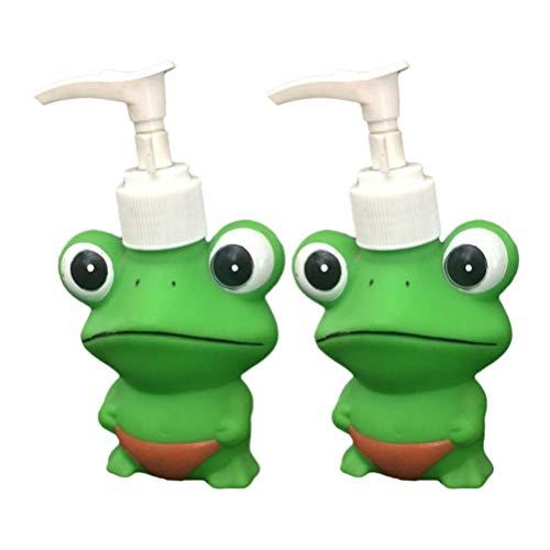 TOPBATHY Tier Seifenspender Frosch Cartoon Handseife Shampoo Duschgel Flasche für Kinder Kinderzimmer Badezimmer Küchenarbeitsplatten Zubehör 2 Stück 120Ml