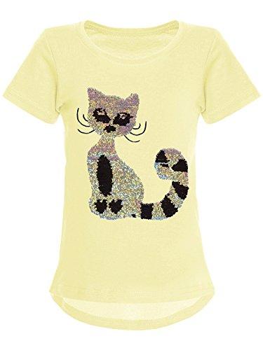 BEZLIT Mädchen Wende-Pailletten T-Shirt Katzen-Motiv Kurz-Arm 22590 Gelb Größe 104