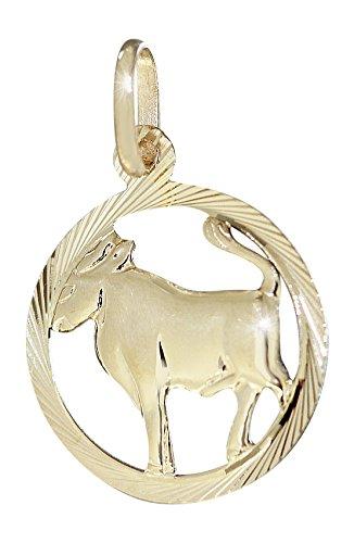 Hobra-Gold - Signo del zodíaco de oro 585, pequeño colgante redondo de oro