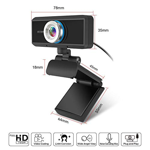 HD 1080p Webcam with Microphone, Video Network Teaching Conference Best for Streaming Computer Pc Mac Laptop with Hd Wide Angle and Autofocus 30fps