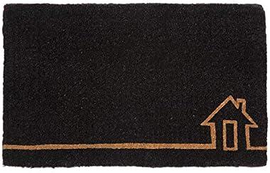 100% Coir Doormat   Entry Mat   Welcome Mat   45x75 cm   Ghar Black