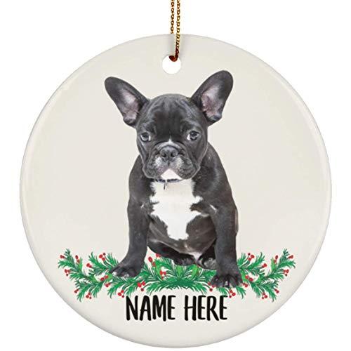 Lovesout Personalized Name Black French Bulldog Christmas Tree Ornament Circle Ceramic