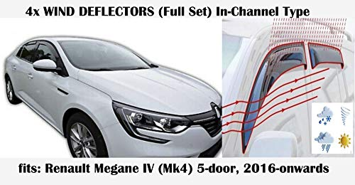 Windabweiser für Renault Megane MK4 5-Türer Schrägheck 2016 2017 2018 2019 2020 Acrylglas Seitenvisier PMMA-Fensterabweiser