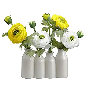 SilksAreForever 9″ Silk Ranunculus Flower Arrangement w/Ceramic Bottle Vase -White/Yellow (Pack of 6)