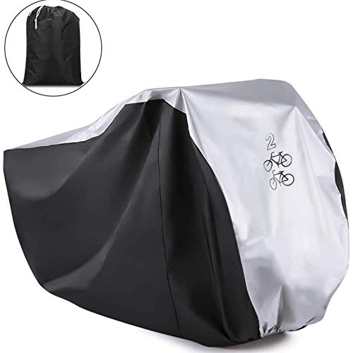 Viaky Outdoor Bicycle Cover for Two Bike, Mountain Bike Road Cycle Cover for 2 Bikes with Storage Bag, Waterproof and Anti Dust Rain UV Protection (Silvery & Black)