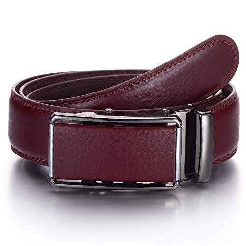 YEHMAN - Cinturón sin agujero de piel con hebilla automática de cremallera de 3,5 cm para hombre J07 Burdeos Medium