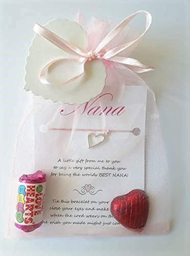Nana Wish Bracelet, Comes in A Lovely Pink Organza Bag with Candy Heart Sweets and Chocolate Foil Heart. Lovely Gift Perfect for Christmas, Birthday Or Just to Say Thank You!