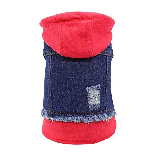 SILD, Giubbotto in Jeans per Cani di Taglia Piccola, Media e Piccola, con Cappuccio, Stile Vintage, Colore: Blu (XXL)