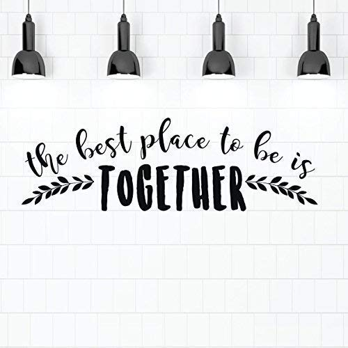 Family Room Quote Wall Decor Sticker - 'The Best Place to Be is Together' Vinyl Decal Decoration for Living Room, Gameroom, Kitchen, Bedroom | Black, 24in x 8in | Housewarming Gift for Men, Women
