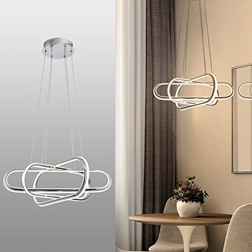 Modern LED Pendant Light, 3-Oval Rings Chic LED Chandelier...